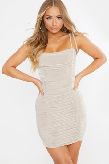 stone slinky ruched cami mini dress