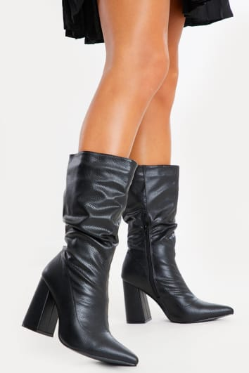 JISELLE BLACK PU RUCHED CALF HEELED BOOTS