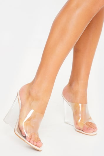 nude clear strap mules
