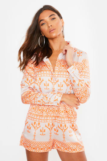 orange aztec satin shirt playsuit