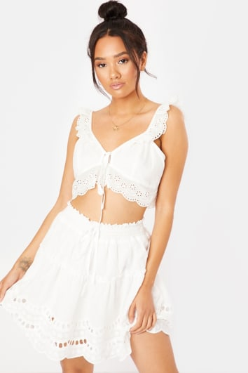 white cut out tie front co-ord crop top