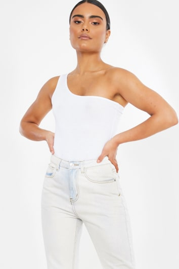 BASIC WHITE ONE SHOULDER BODYSUIT