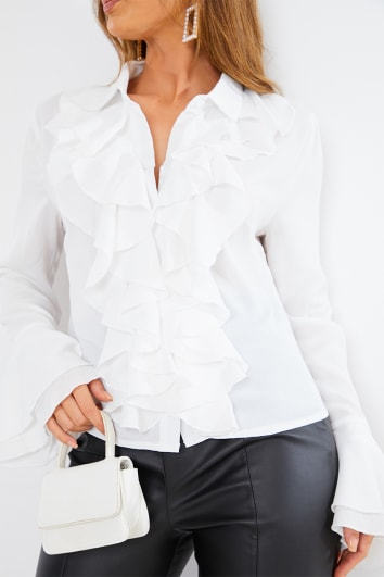 ivory frill detail shirt