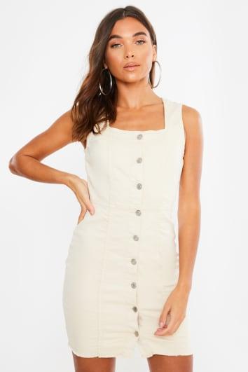 cream button front square neck dress