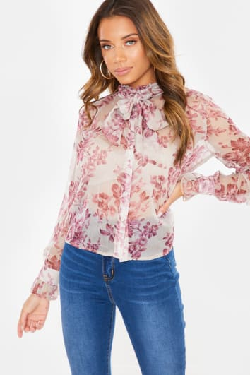 BEIGE FLORAL PRINT BOW LONG SLEEVE BLOUSE