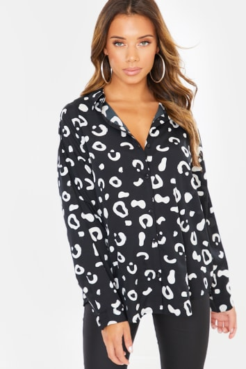 BLACK LEOPARD BUTTON THROUGH SHIRT