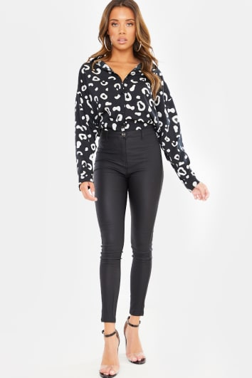 BLACK COATED HIGH WAISTED JEGGINGS