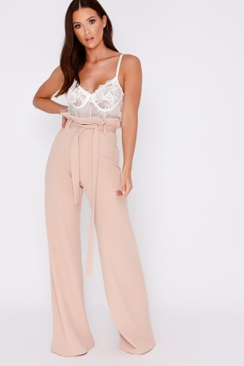 nude flared high waisted paperbag trousers