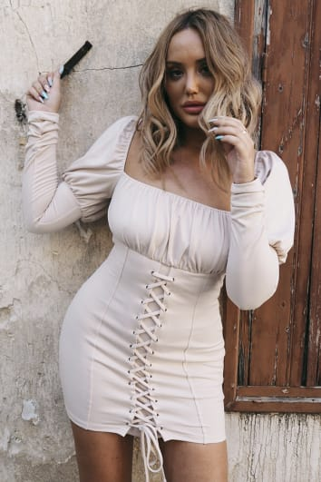 CHARLOTTE CROSBY NUDE LACE UP DETAIL PUFF SLEEVE DRESS