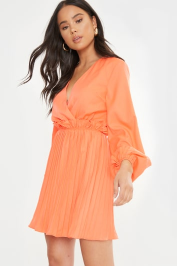 DANI DYER ORANGE BALLOON SLEEVE PLEATED MINI DRESS