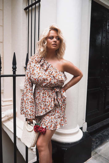 EMILY ATACK WHITE FLORAL FRILL ONE SHOULDER MINI DRESS