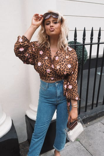 EMILY ATACK MIX LEOPARD CREPE WRAP FRONT TIE TOP