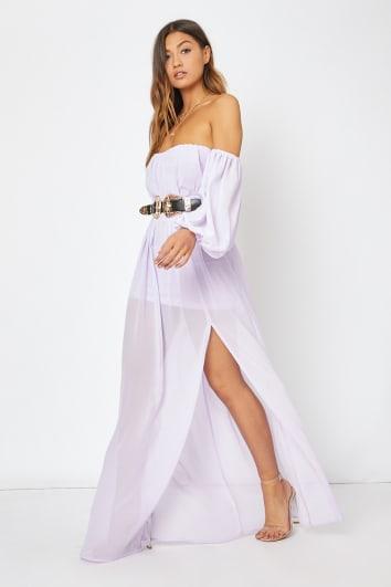 lilac bardot western belted split front maxi dress