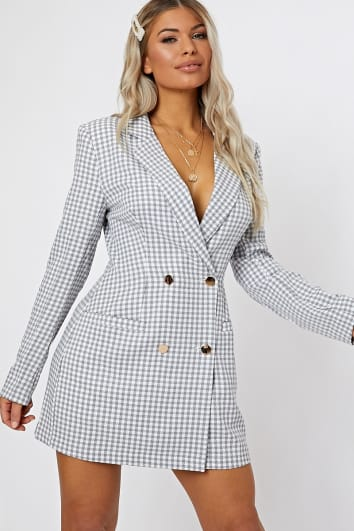 grey gingham blazer dress
