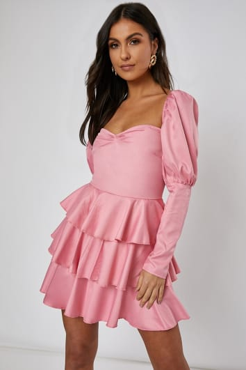 rose pink puff sleeve tiered mini dress