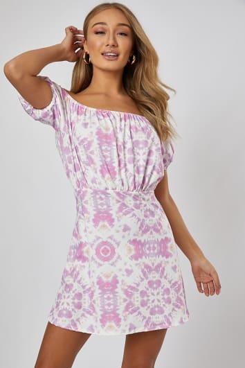 pink tie dye bardot swing mini dress