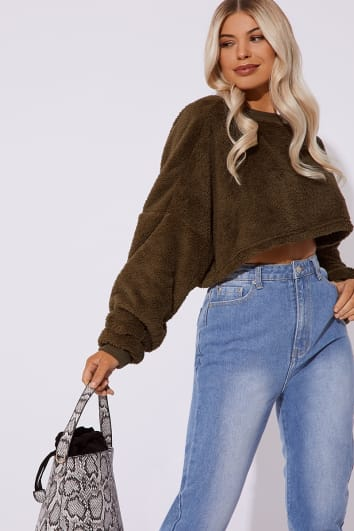 khaki teddy fur crop jumper