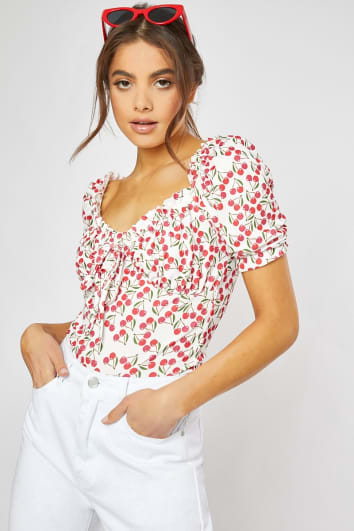cherry print puff sleeve top