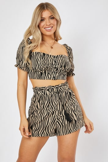 zebra printed paperbag waist co-ord shorts