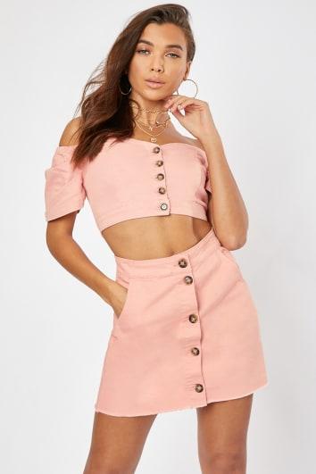 blush button front denim co-ord mini skirt