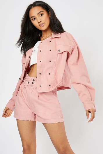 pink denim double breasted utility co-ord jacket