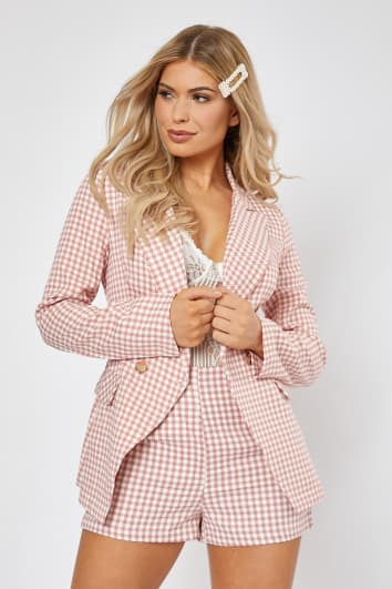 pink gingham check military co-ord blazer