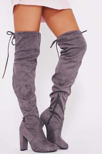 REMI GREY FAUX SUEDE OVER THE KNEE HEELED BOOTS