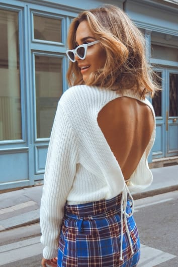 white backless tie jumper