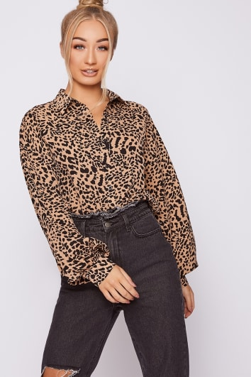 stone leopard print oversized balloon sleeve shirt