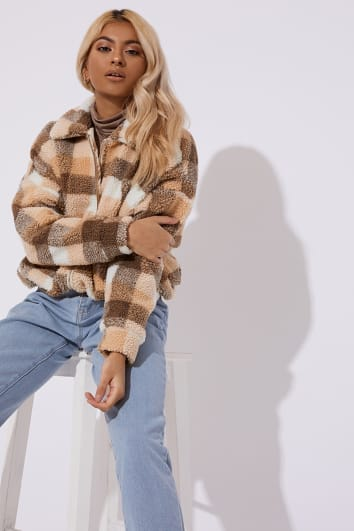 brown check teddy fur bomber coat