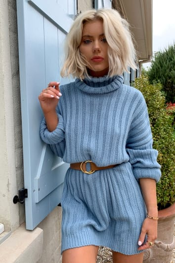 LAURA JADE DUSTY BLUE OVERSIZED CHUNKY KNITTED JUMPER DRESS WITH SIDE SPLITS