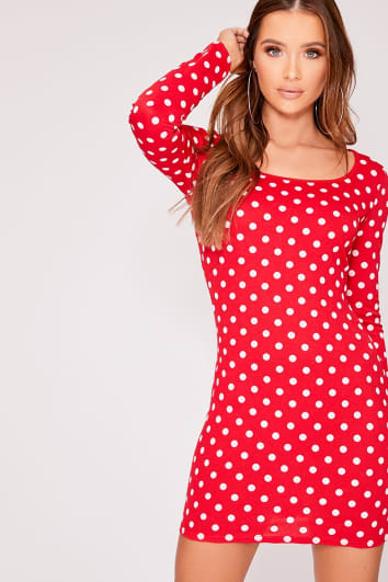 CARRIA RED POLKA DOT SCOOP NECK LONG SLEEVE DRESS