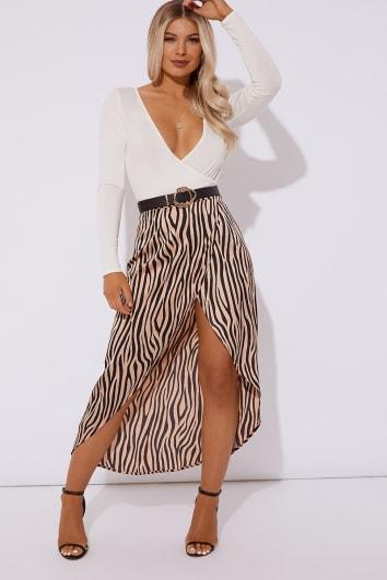 brown zebra woven wrap skirt