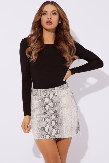 snake print denim skirt