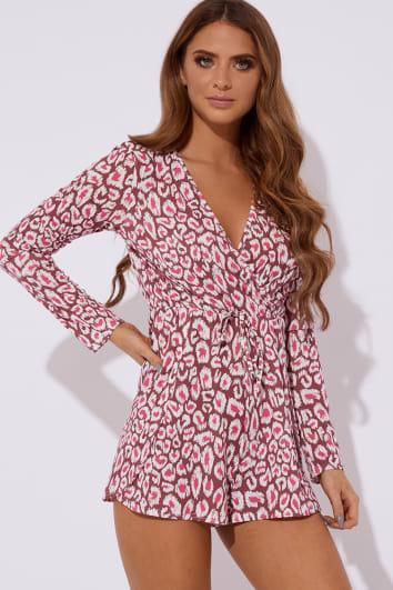 raspberry leopard print long sleeve wrap playsuit