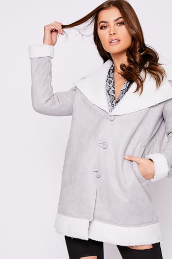 grey and white faux suede shearling lined jacket