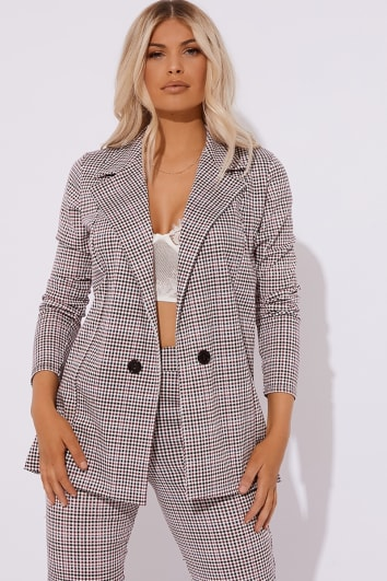 red dogtooth check co-ord blazer