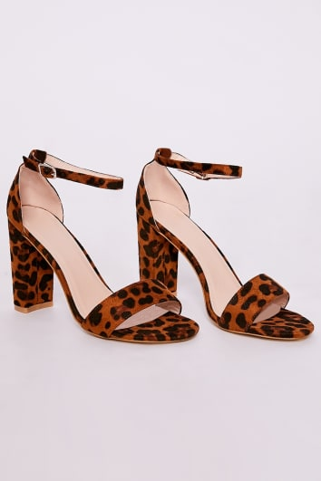 leopard print faux suede ankle strap barely there block heels