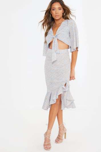 blue floral print frill split midi skirt