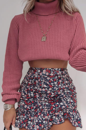 FASHION INFLUX PINK RIBBED ROLL NECK CROPPED JUMPER