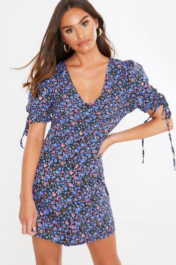 black floral puff sleeve mini dress