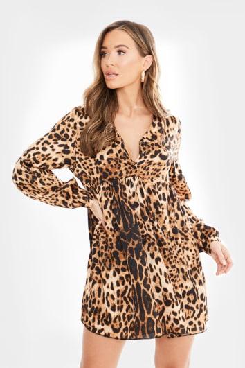 leopard long sleeve smock dress