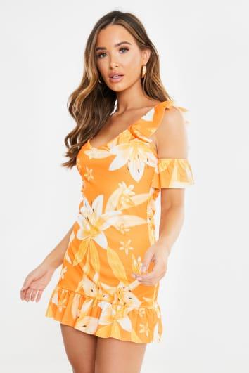 orange floral cold shoulder frill mini dress