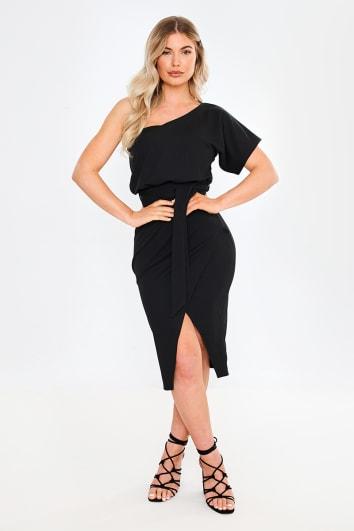 black one shoulder wrap midi dress
