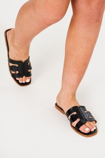 black croc sliders