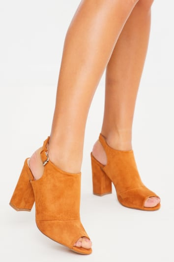 camel suede peep toe heeled mules