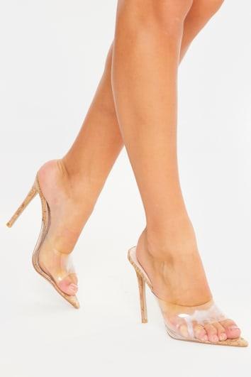 brown cork clear peep toe heels