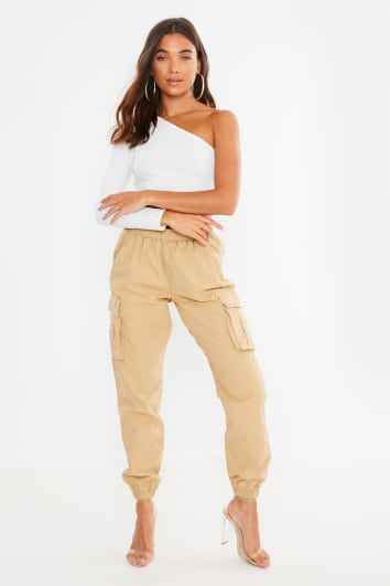 camel elasticated waist cargo trousers