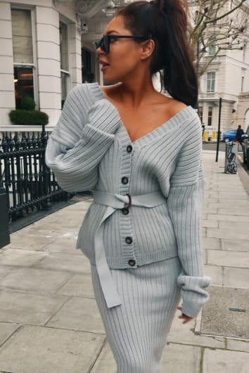 LORNA LUXE 'NO REGRETS' RIBBED BELTED GREY CO-ORD CARDIGAN