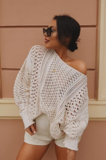 LORNA LUXE 'ME WITHOUT YOU' OFF WHITE CROCHET OVERSIZED JUMPER